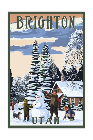 Brighton Resort, Utah - Snowman Scene-Lantern Press-Art Print