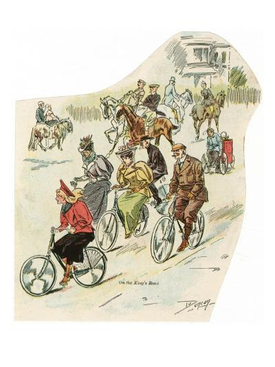Brighton, Sussex: Men and Women Riding Horses and Cycling in King's Road--Giclee Print