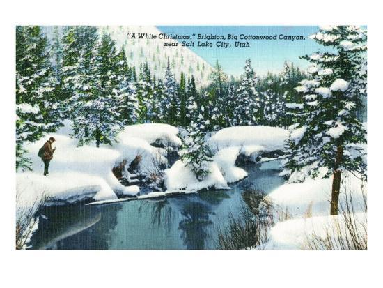 Brighton, Utah, A Snowy Winter Scene in Big Cottonwood Canyon-Lantern Press-Art Print