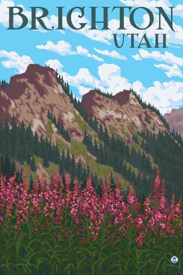 Brighton, Utah - Flowers and Mountain Range-Lantern Press-Art Print
