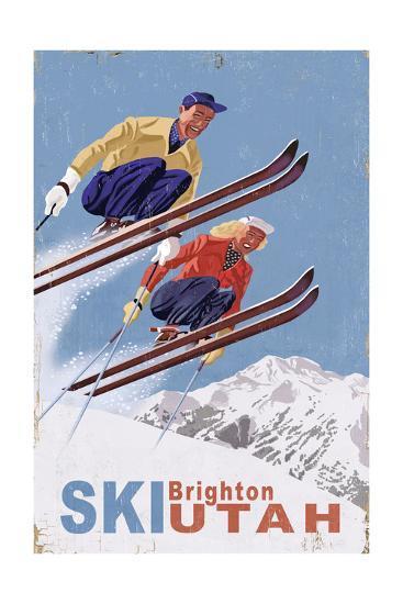 Brighton, Utah - Vintage Skiers-Lantern Press-Art Print