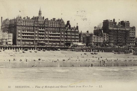 Brighton, View of Metropole and Grand Hotels from West Pier--Photographic Print