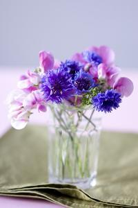 Small Bouquet with Cornflowers and Vetch on Green Silk by Brigitte Protzel