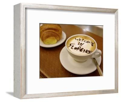 Florence, Italy, Cappuccino with Text in Chocolate
