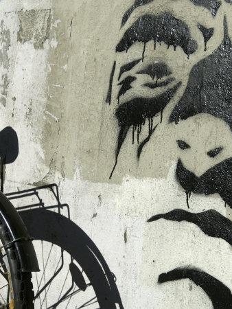 Graffiti on Wall with Bicycle, Copenhagen, Denmark