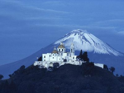 Mexico, Cholula, Catholic Church, Famous Twin Volcano in Background