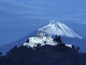Mexico, Cholula, Catholic Church, Famous Twin Volcano in Background by Brimberg & Coulson