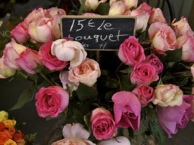 Roses Being Sold at a Market, Paris, France