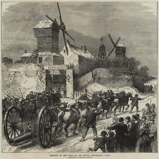 Bringing Up Ship Guns at the Buttes Montmartre, Paris--Giclee Print