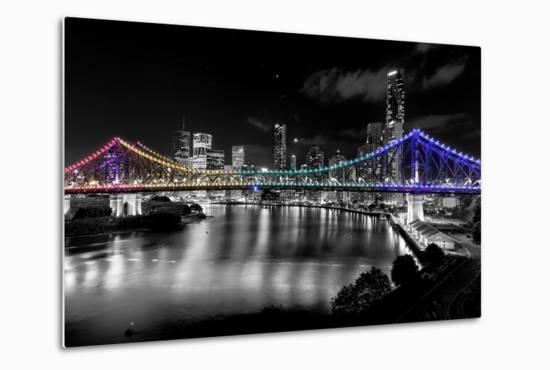 Brisbane Story Bridge by Night-David Bostock-Metal Print