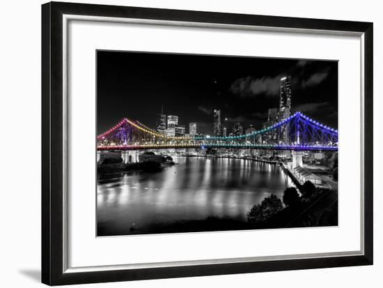Brisbane Story Bridge by Night-David Bostock-Framed Photographic Print