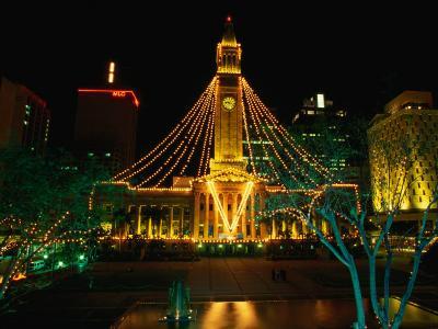 Brisbane Town Hall at Night Brisbane, Queensland, Australia-Barnett Ross-Photographic Print