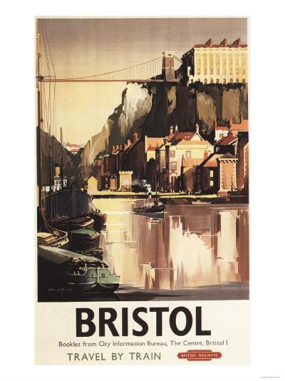 Bristol, England - Clifton Suspension Bridge and Boats British Rail Poster-Lantern Press-Art Print