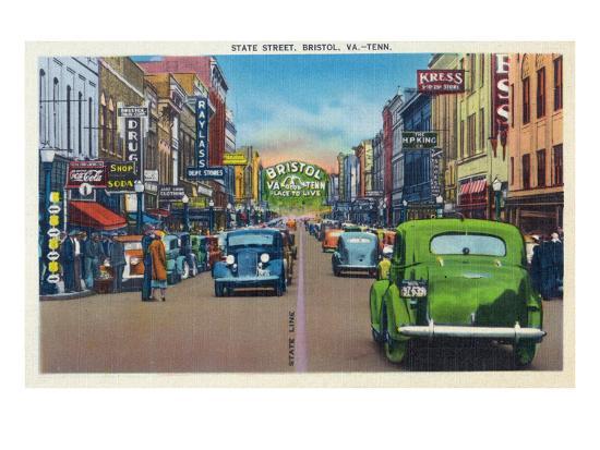 Bristol, Virginia - View of State Street and Bristol, Tennessee-Lantern Press-Art Print