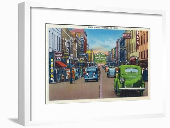 Bristol, Virginia - View of State Street and Bristol, Tennessee-Lantern Press-Framed Art Print