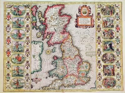 Britain As It Was Devided In The Tyme of the Englishe Saxons especially during their Heptarchy-John Speed-Giclee Print
