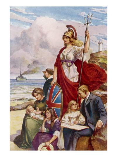 Britannia Guards Our Coasts, Protecting a Typical English Family--Giclee Print