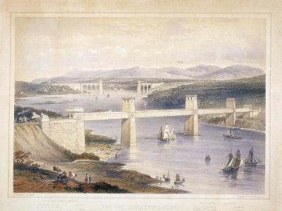 Britannia Tubular Bridge over the Menai Straits, Wales, C1850-C1852-George Hawkins-Giclee Print