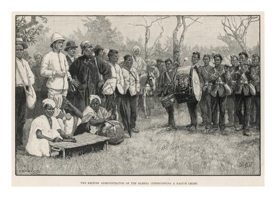 British Administrator Interviews a Native Chief in the Gambia--Giclee Print