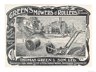 British Advertisement for a Lawn Mower and Garden Roller--Giclee Print