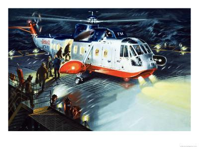 British Airways Rescue Helicopter-Wilf Hardy-Giclee Print