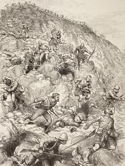 British and Scottish Troops Retreating from the Battle of Majuba Hill During the First Boer War--Giclee Print