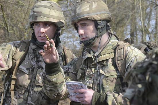 British Armed Forces Fire Control Group Planning a Firing Plan-Stocktrek Images-Photographic Print