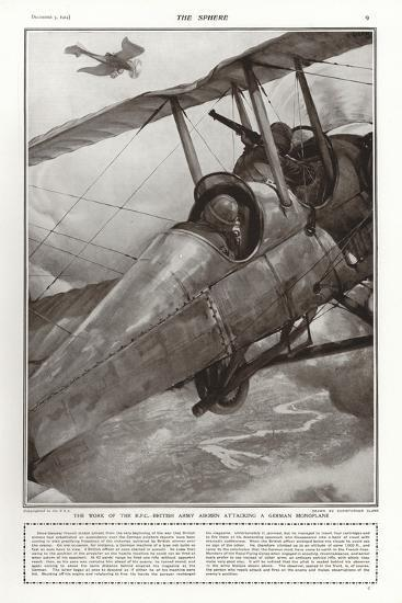 British Army Airmen of the Rfc Attacking a German Monoplane, World War I-Addison Thomas Millar-Giclee Print