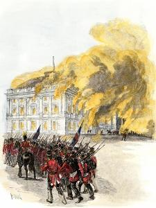 British Army Burning the White House in 1814 during the War of 1812