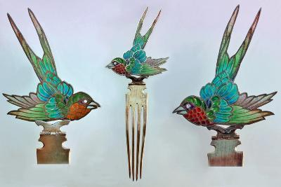 British Arts and Crafts Hair Combs with Swallows--Photographic Print