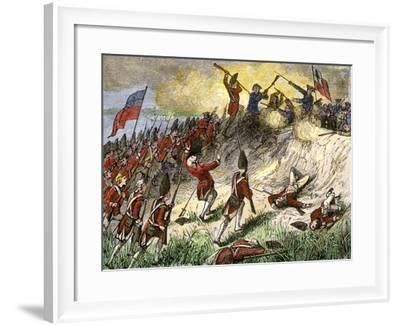 British Assault on the American Position Atop Breed's Hill, Battle of Bunker Hill, c.1775--Framed Giclee Print