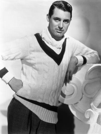 British Born Actor Cary Grant (1904 - 1986), Born Archibald Leach, Wearing a Cricket Sweater--Photo