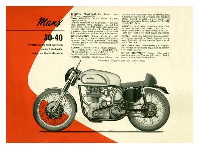 British BSA Manx 30 40 Motorcycle--Giclee Print