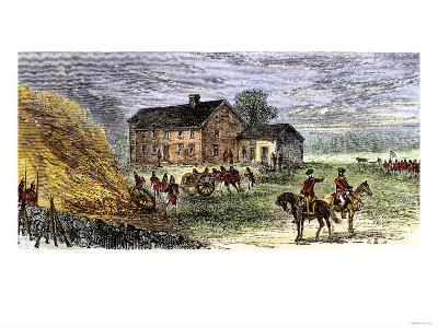 British Burning Patriots' Goods in a Bonfire at Colonel Barrett's House, Battle of Concord, c.1775--Giclee Print