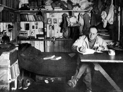 British Explorer Robert Falcon Scott Writing in His Diary Inside Hut at Cape Evans--Premium Photographic Print