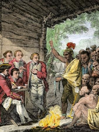 British General Henry Bouquet's Council with the Native Americans during Pontiac's War, c.1763