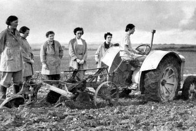 British Girls of the Women's Land Army Learning to Plough with a Tractor, World War II, 1939-1945--Photographic Print