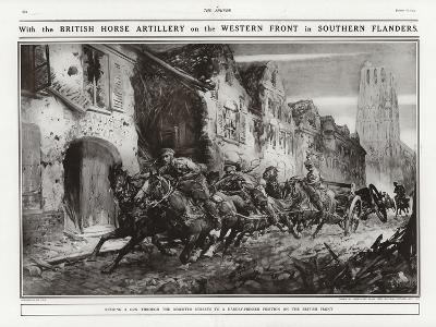 British Horse Artillery on the Western Front in Southern Flanders, World War I-Addison Thomas Millar-Giclee Print