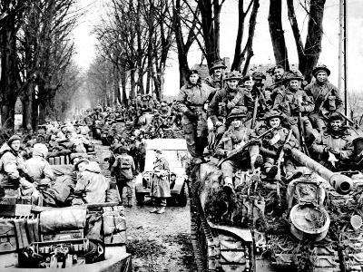 British Infantry and Tanks, Reichswald; World War Two, 1945--Photographic Print