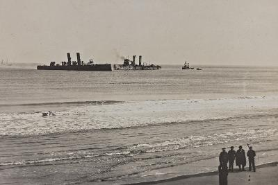 British Naval Vessels Off the Port of Ostend During the First World War--Photographic Print