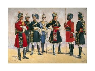 British Officers, Indian Army, Illustration for 'Armies of India', Published in 1911, 1910-Alfred Crowdy Lovett-Giclee Print