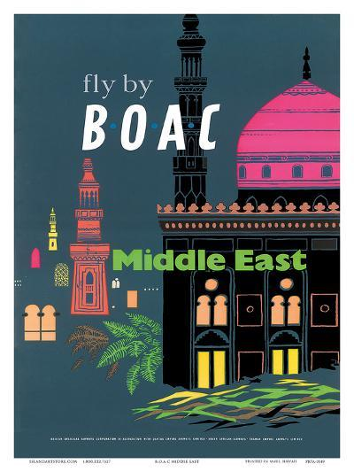 British Overseas Airways Corporation: Fly by BOAC - Middle East, c.1954--Art Print