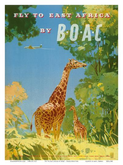 British Overseas Airways Corporation - Fly to East Africa by BOAC - Giraffes-Frank Woutton-Art Print