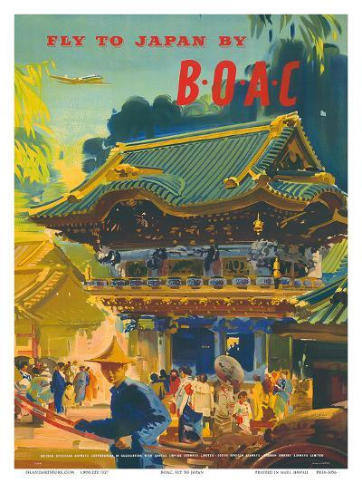 British Overseas Airways Corporation: Fly to Japan by BOAC, c.1950s-Frank Wootton-Art Print