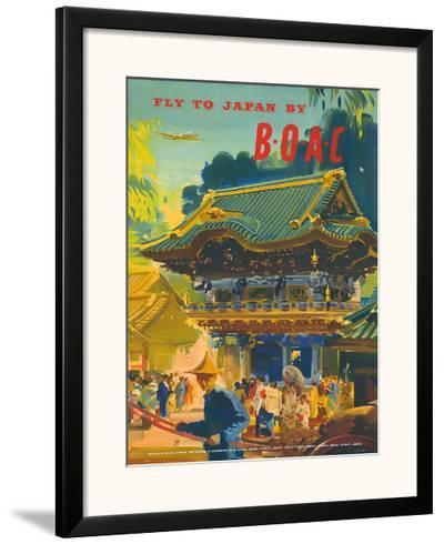 British Overseas Airways Corporation: Fly to Japan by BOAC, c.1950s-Frank Wootton-Framed Giclee Print