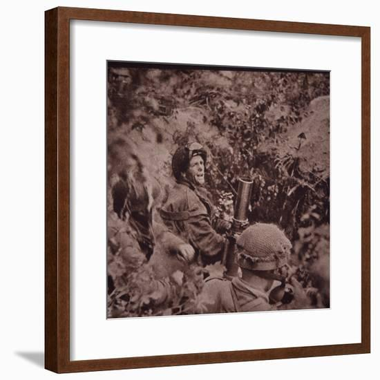 British Paratroopers Bombard German Positions with Mortars, Battle of Arnhem, 1944 (B/W Photo)-English-Framed Giclee Print