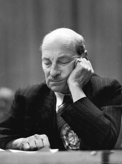 British Pm Clement Attlee Dozing During Campaign Rally-Alfred Eisenstaedt-Premium Photographic Print