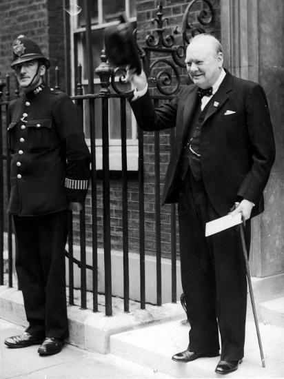 British Prime Minister Winston Churchill Doffing Hat Outside of 10 Downing St--Premium Photographic Print