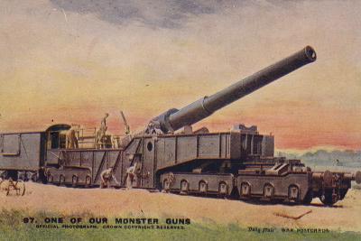 British Railway Gun, World War I--Photographic Print