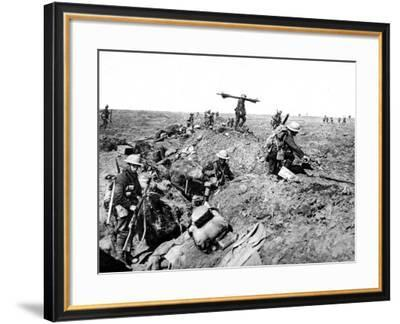 British Reserves Leaving their Trenches During an Advance--Framed Photographic Print